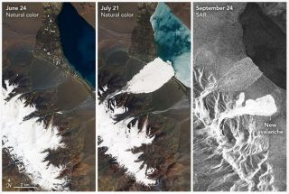 Two massive ice avalanches, just a few kilometers from each other, occurred on July 21 and Sept. 21, 2016, in the Aru Range of Tibet, as shown in satellite images here.