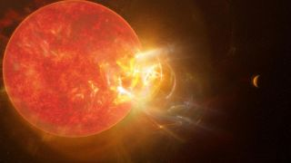 Artist's conception of a violent flare erupting from the star Proxima Centauri.