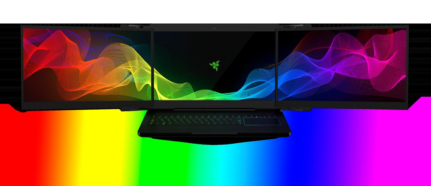 razer s laptop with 3 monitors is no joke pc gamer