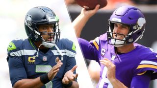 Russell Wilson #3 of the Seattle Seahawks and Minnesota Vikings quarterback Kirk Cousins (8)