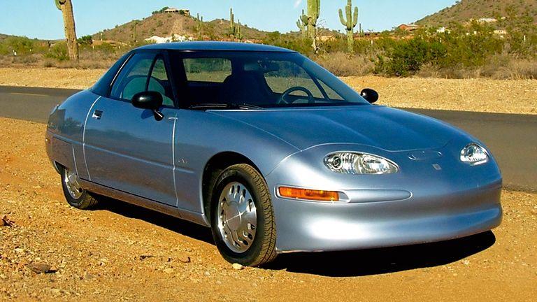 GM EV1 in desert landscape