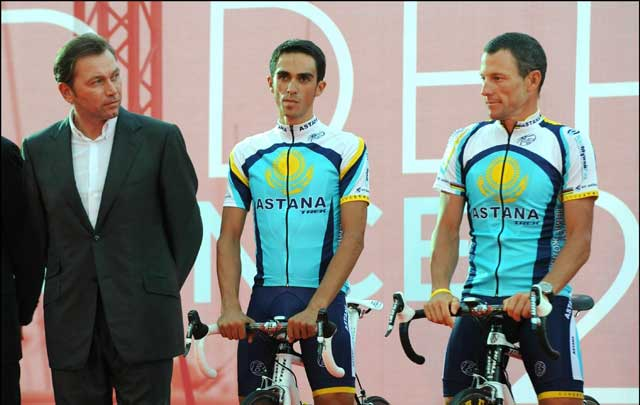 Contador, Armstrong, Tour de France 2009 team presentation