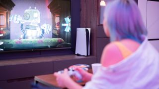 Girl playing PlayStation 5 gaming console