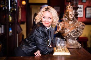 Janine Butcher in the Queen Vic in EastEnders