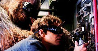 Han and Chewie repair the Falcon, again