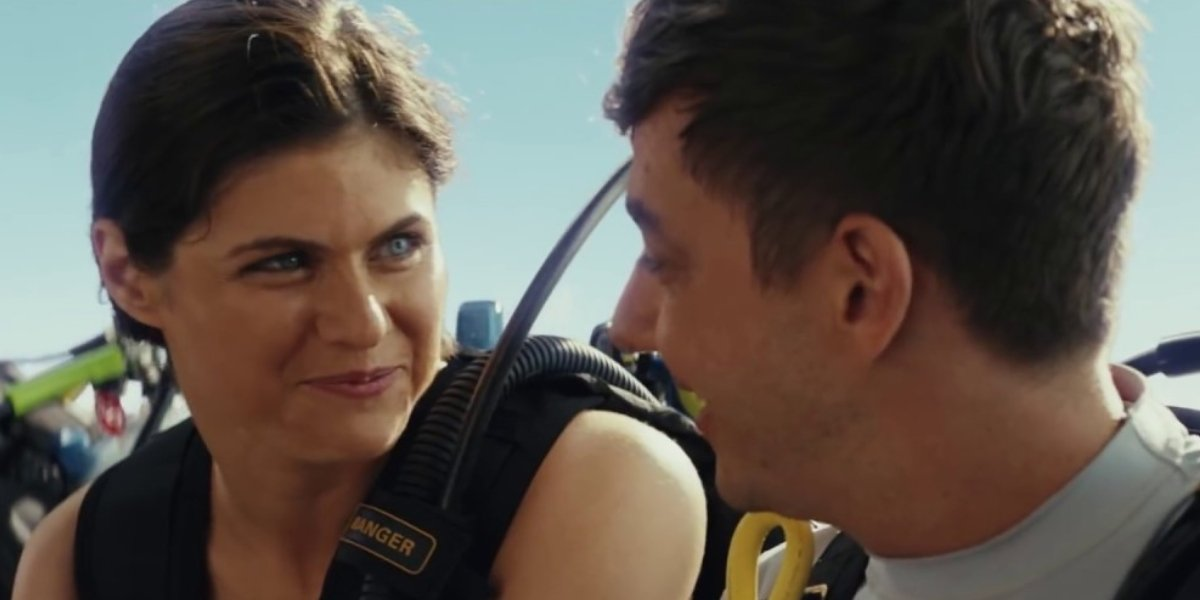 Alexandra Daddario and Jorma Taccone in a deleted scene from Rampage