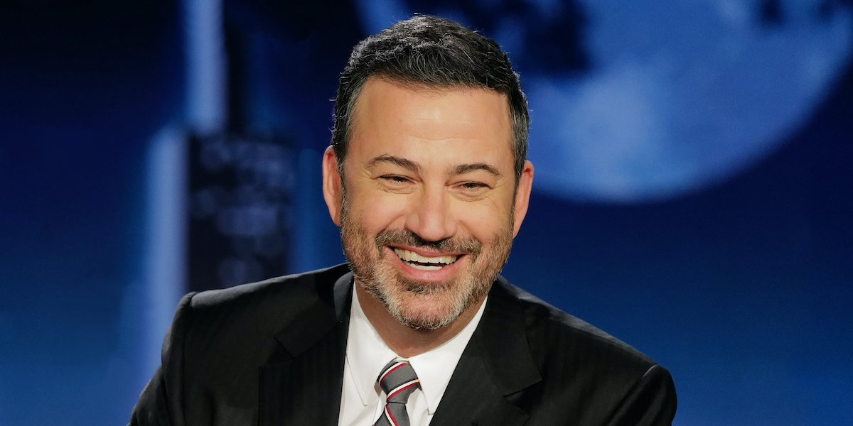 Jimmy Kimmel smiling on his talk show