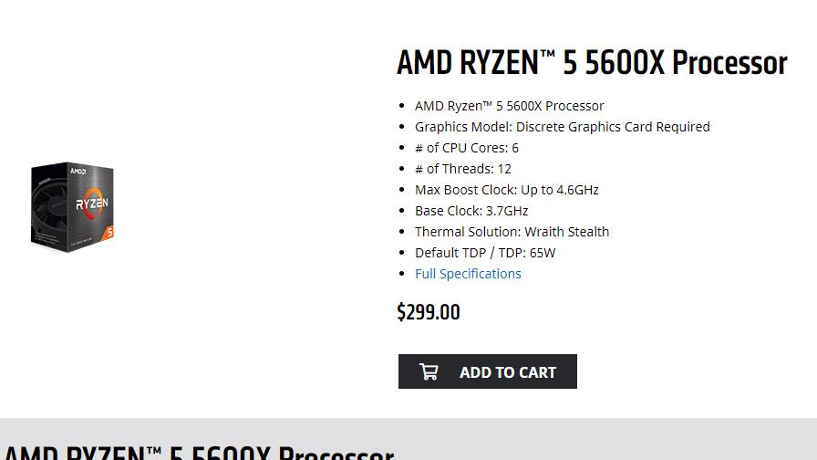 AMD webstore listing for Ryzen 5000 CPU
