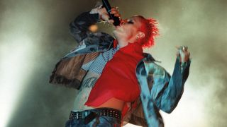 A shot of keith flint on stage