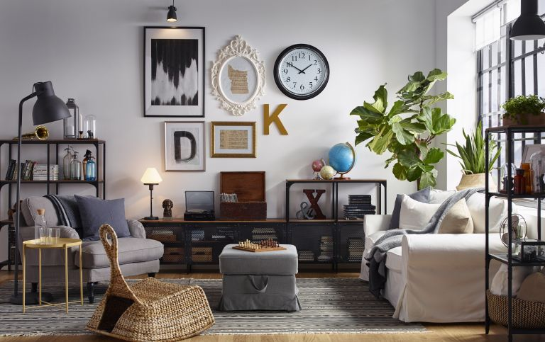 white living room with gallery wall by ikea