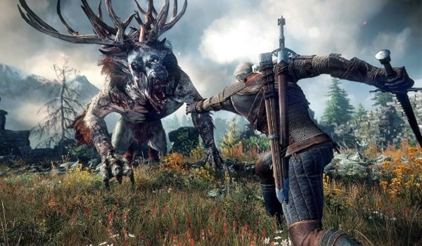 Geralt slays a monster in The Witcher 3