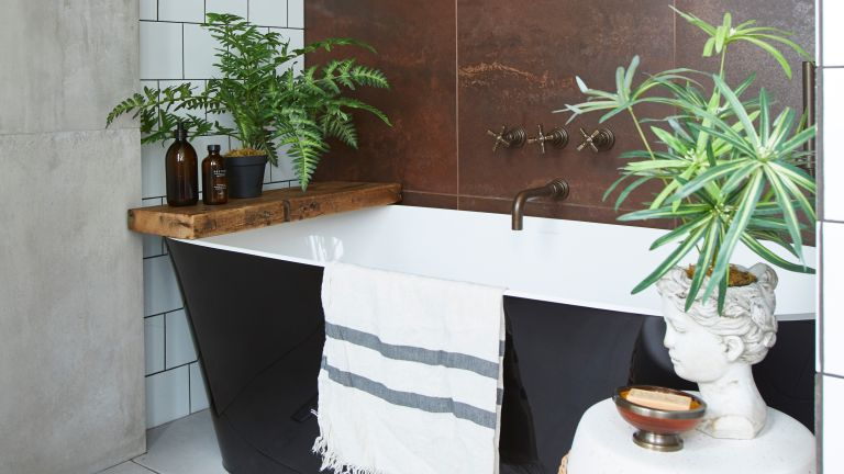 With its bold scheme and clever space-saving ideas, Barbara Davidson's bathroom is proof that good things come in small packages