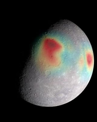 This image of Mercury was captured by an instrument aboard the Messenger spacecraft, with the colors showing gravitational anomalies.