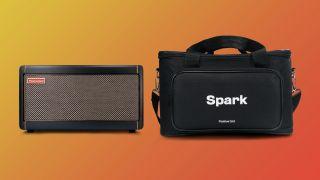 Positive Grid Spark smart amp and bag on orange background