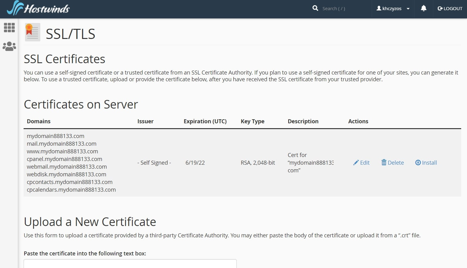 Hostwinds' settings page for SSL certificates
