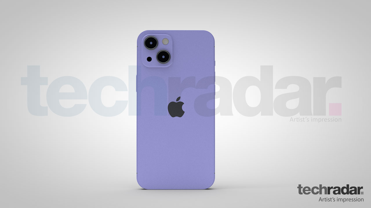 An artist's impression of the iPhone 13 in purple showing the rear of the phone