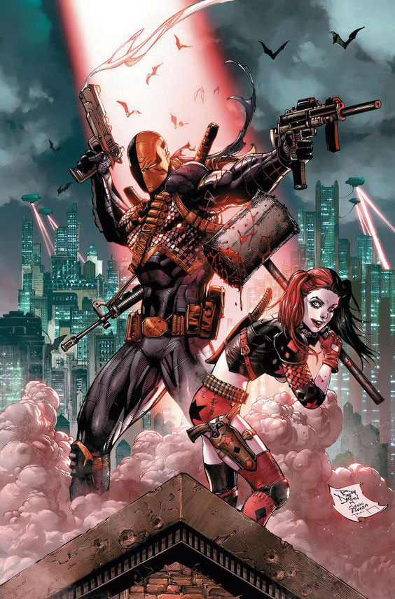 Deathstroke and Harley Quinn amongst the ruins of Gotham