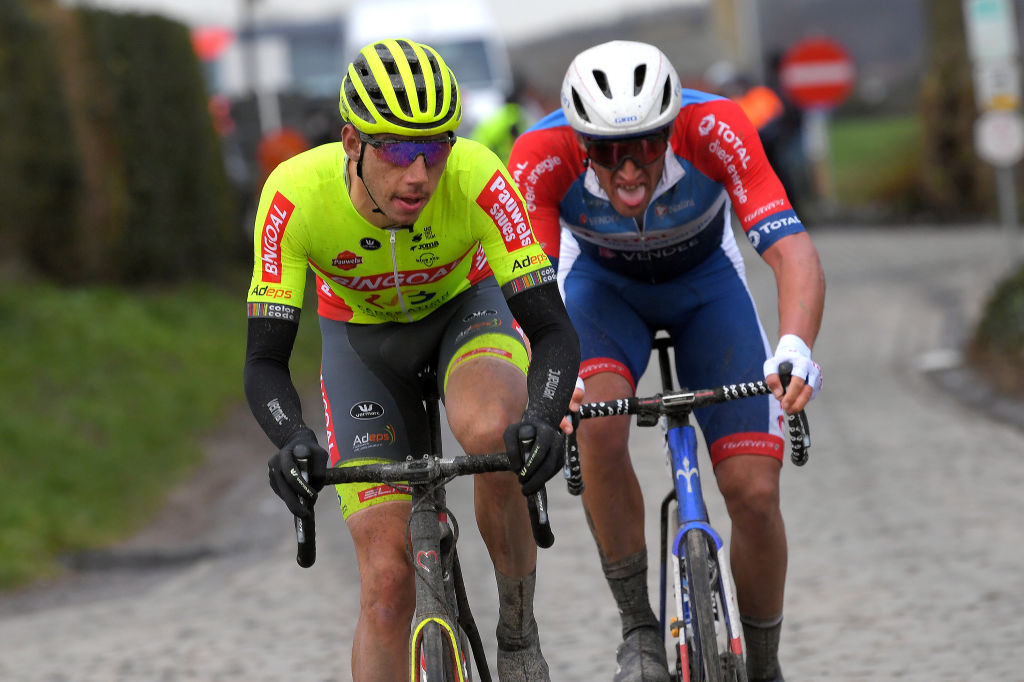 NOKERE BELGIUM MARCH 17 Ludovic Robeet of Belgium and Team Bingoal WB Damien Gaudin of France and Team Total Direct Energie during the 75th Nokere Koerse Danilith Classic 2021 Mens Elite a 1955km race from Deinze to Nokere Breakaway Attack NokereKoerse on March 17 2021 in Nokere Belgium Photo by Luc ClaessenGetty Images
