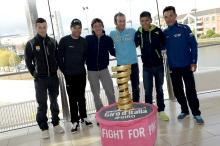 The overall favourites pose with the Giro trophy