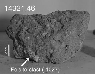 "A moon rock brought back by Apollo 14 astronauts in 1971 may contain a tiny piece of the ancient Earth (the ""felsite clast"" identified by the arrow)."
