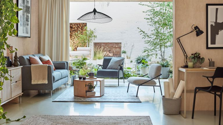 living space with modern decor