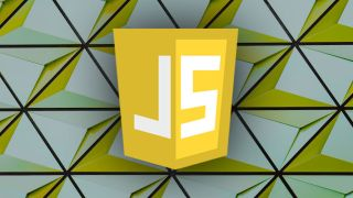 JavaScript logo on triangular patterned background