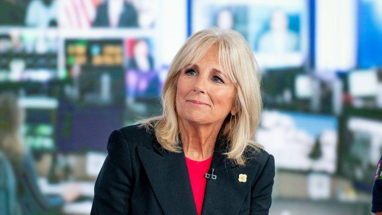 "NEW YORK, NY - SEPTEMBER 06: Jill Biden discusses ""Walk of America"" as she visits ""America's Newsroom"" at Fox News Channel Studios on September 6, 2018 in New York City. ()"