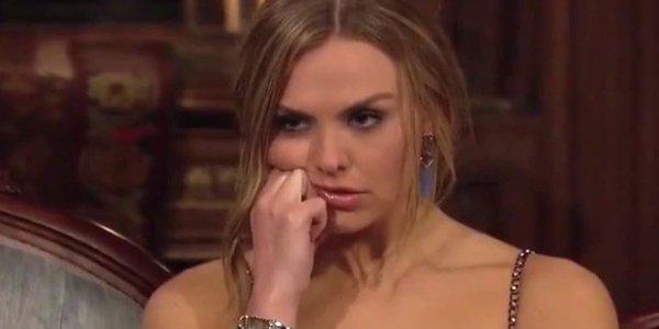 Bachelorette Hannah looks annoyed ABC