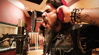 Robb Flynn from Machine Head in the recording studio