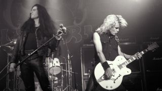 Ian Astbury and Billy Duffy of the Cult perform at the Ritz on June 2, 1987 in New York City.