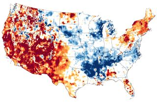 A map of surface soil wetness in March 2021, with blue areas representing high moisture, and dark red areas representing exceptional drought.