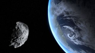illustration of an asteroid near Earth