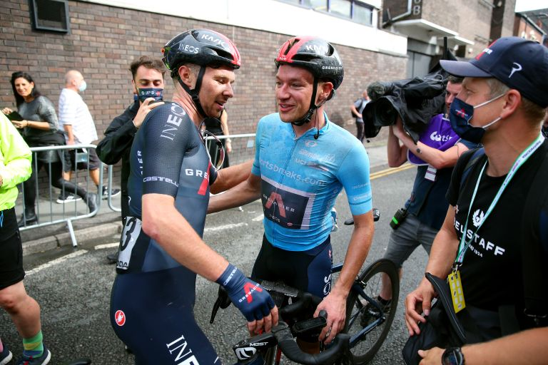 Ethan Hayter celebrates after winning stage five of the Tour of Britain 2021