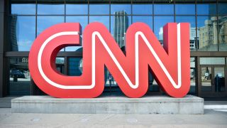 CNN sign outside press conference for the WBA Super Lightweight Championship at State Farm Arena on May 20, 2021 in Atlanta, Georgia.