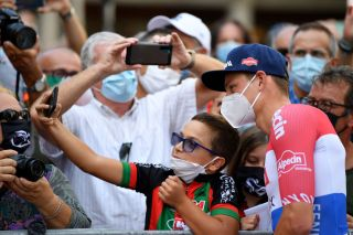CASCIA, ITALY - SEPTEMBER 10: Start / Mathieu Van Der Poel of The Netherlands and Team Alpecin-Fenix / Fans / Public / Mask / Covid Safety Measures / Selfie / Children / during the 55th Tirreno-Adriatico 2020, Stage 4 a 194km stage from Terni to Cascia 645m / @TirrenAdriatico / on September 10, 2020 in Cascia, Italy. (Photo by Justin Setterfield/Getty Images)