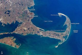 Taken in 2007 by Expedition 16 astronauts aboard the International Space Station, this digital image shows Cape Cod, where the Pilgrims first set foot.