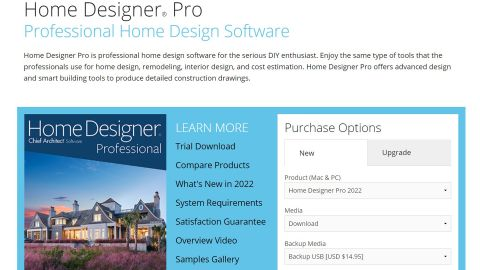 Home Designer Pro review: image of web page for software
