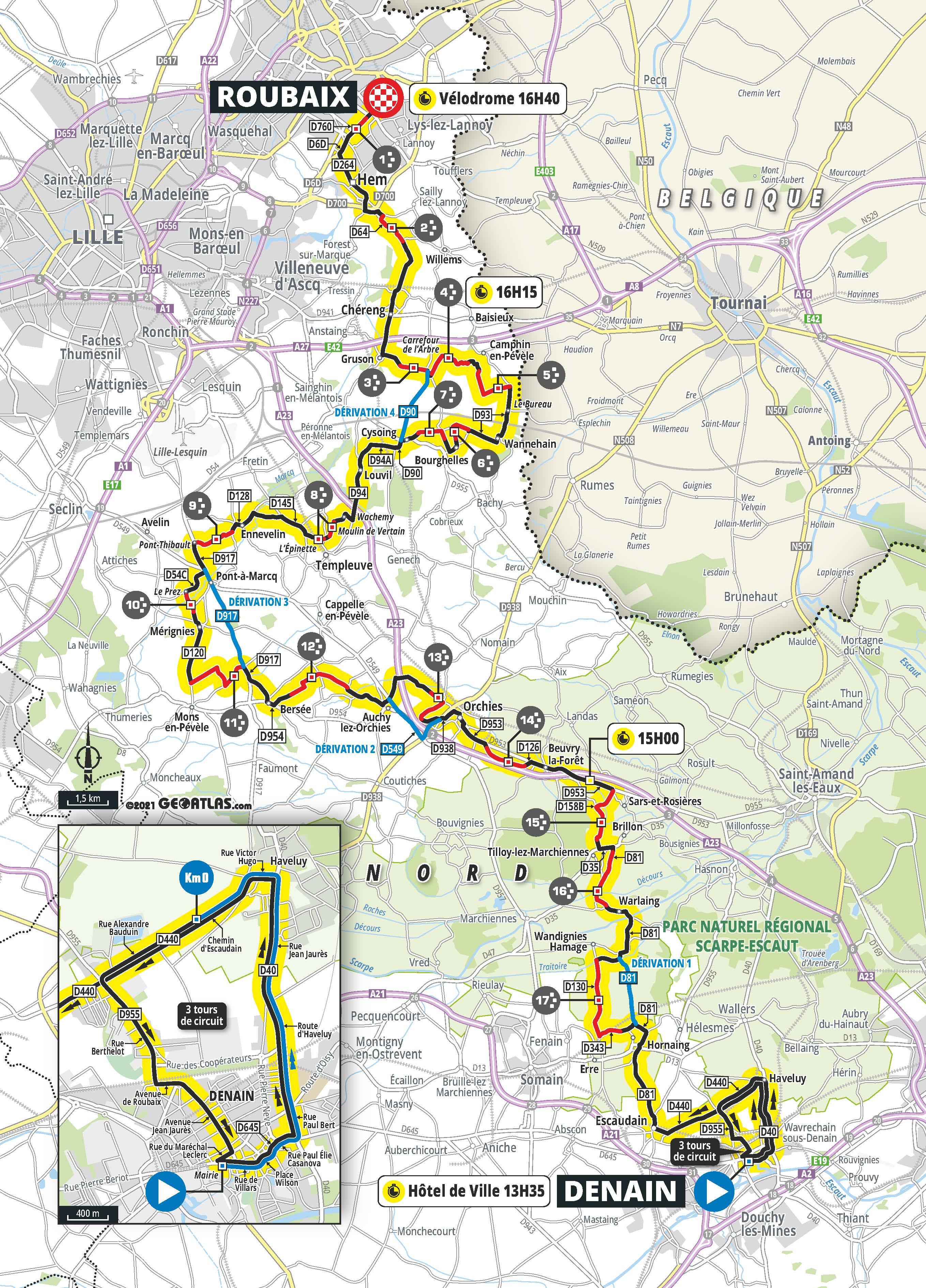 The map of the 2021 Paris-Roubaix Femmes