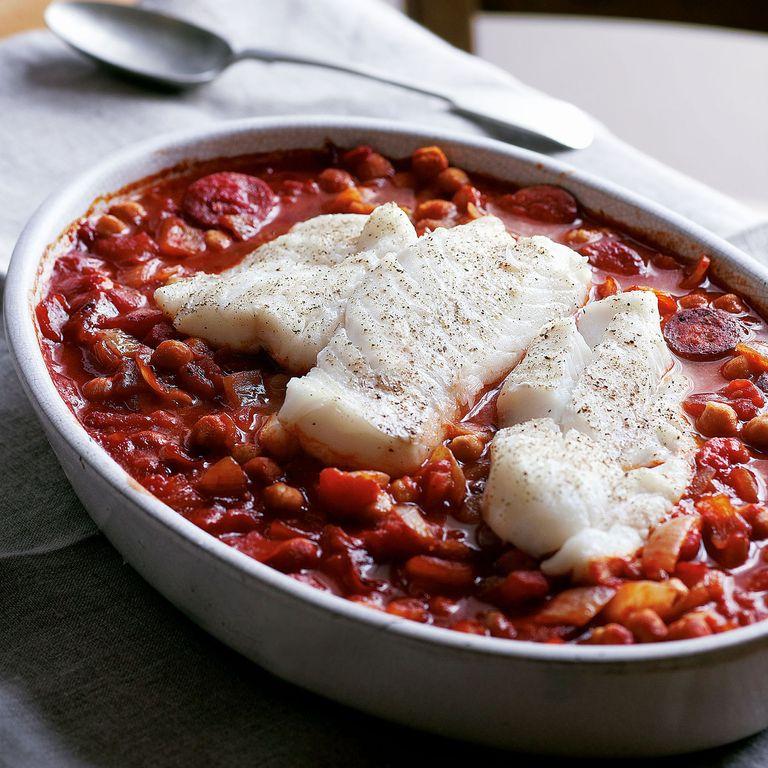Cod, Chorizo and Chickpea Casserole Recipe--cod recipes-recipe ideas-new recipes-woman and home