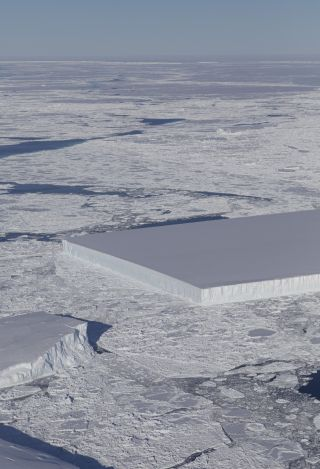 NASA's IceBridge project captured this view of a strange rectangular-shaped iceberg in Antarctica in October 2018.