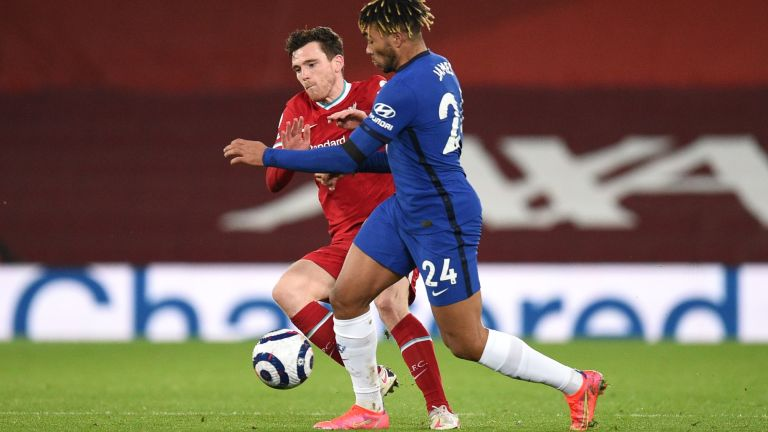 Andy Robertson of Liverpool battles for possession with Reece James of Chelsea
