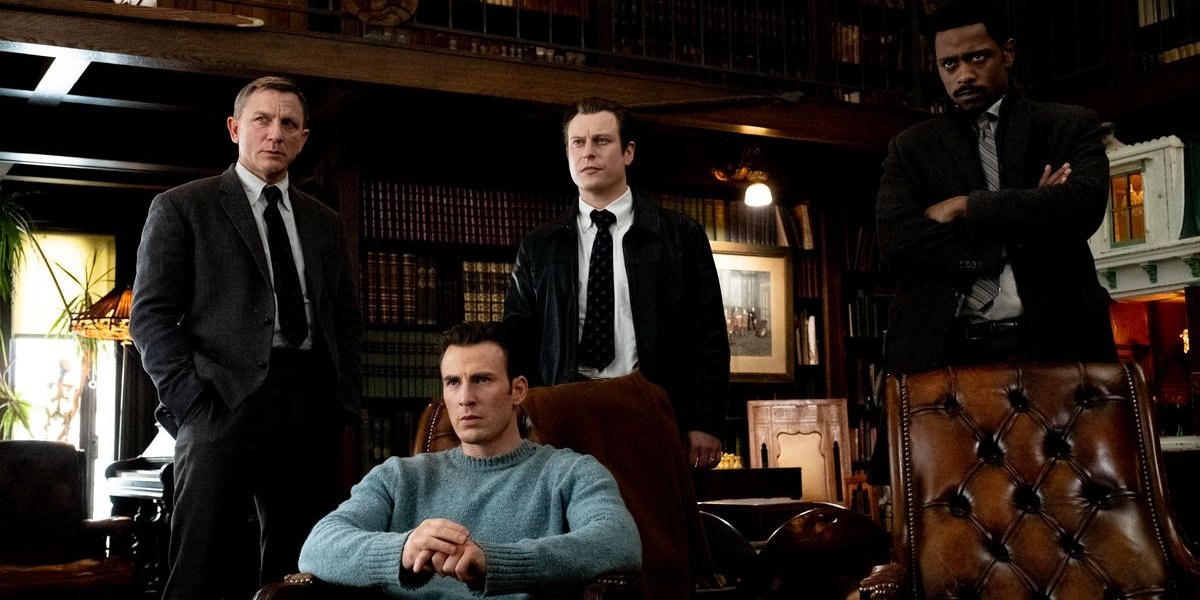 Knives Out Daniel Craig, Chris Evans, Noah Segan, and Lakeith Stanfield in the drawing room