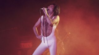 Freddie Mercury of Queen, performing at the Omni Coliseum, Atlanta on February 21, 1977