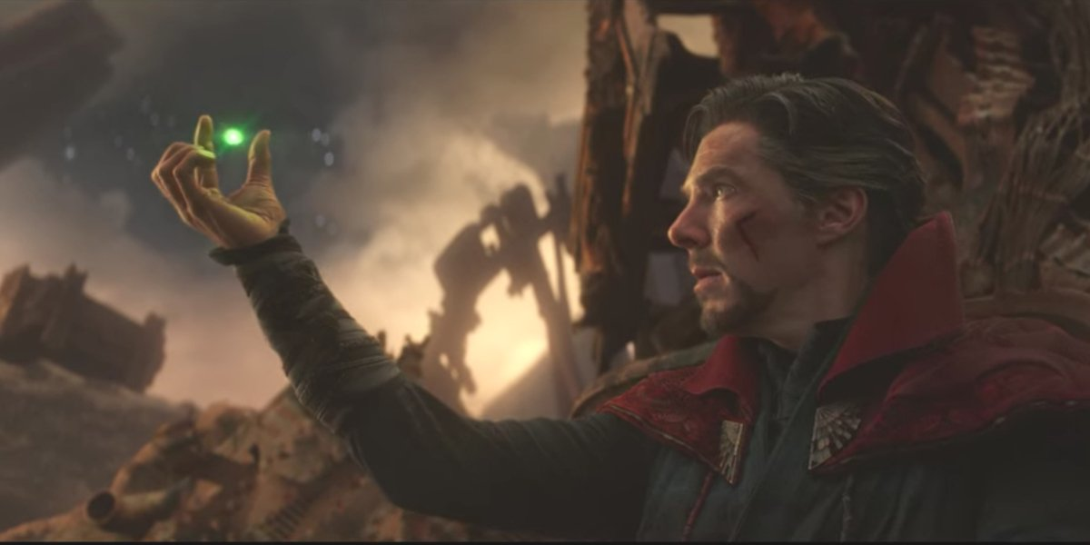 Benedict Cumberbatch surrendering the Time Stone in Avengers: Infinity War