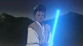 "Jordan Fisher's Dan with blue lightsaber in Star Wars: Visions short ""The Elder"""
