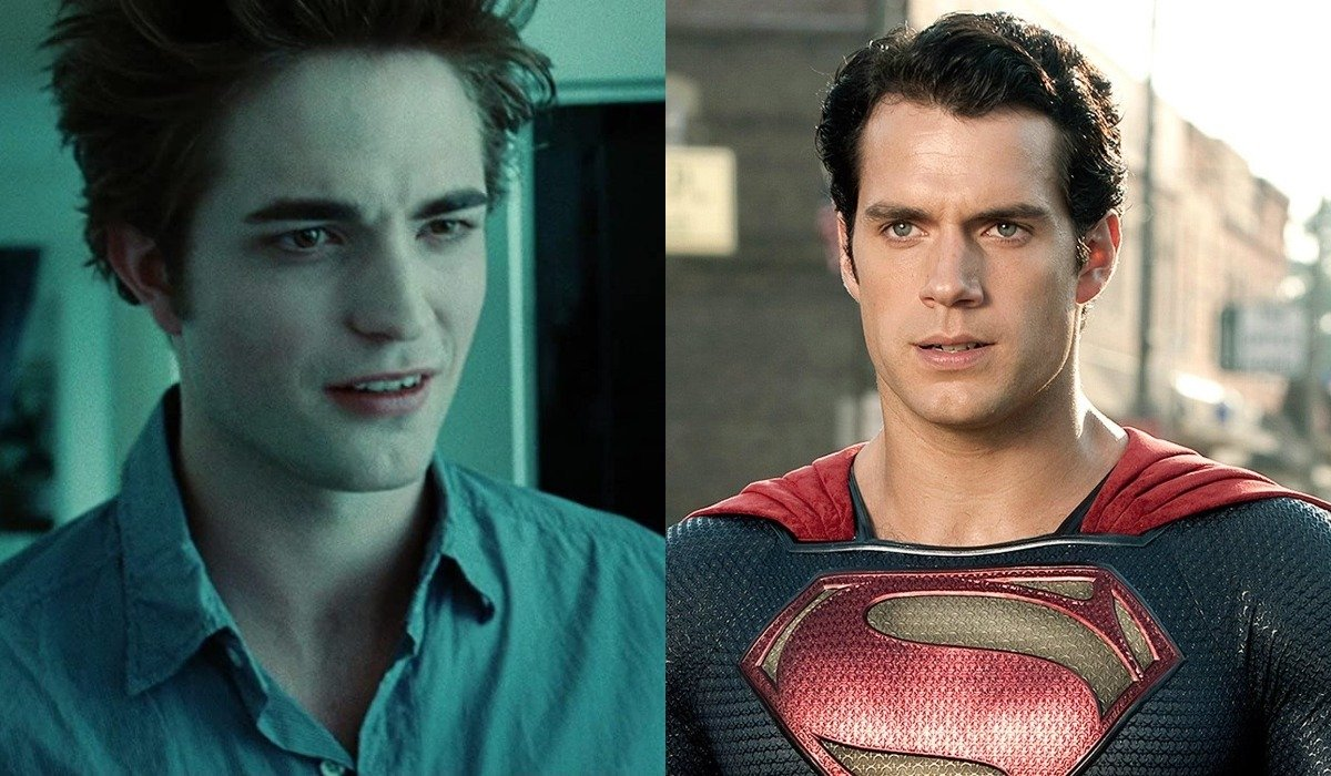 Robert Pattinson in Twilight and Henry Cavill as Superman
