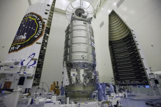 The Orbital ATK Cygnus spacecraft S.S. John Glenn is encapsulated in its protective payload fairing on March 9 ahead of its planned cargo launch to the International Space Station. The spacecraft is scheduled to launch on an Atlas V rocket from Cape Canav