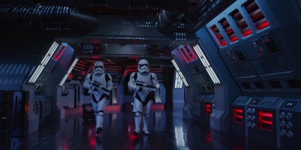 Stormtroopers in Rise of the Resistance promotional video.