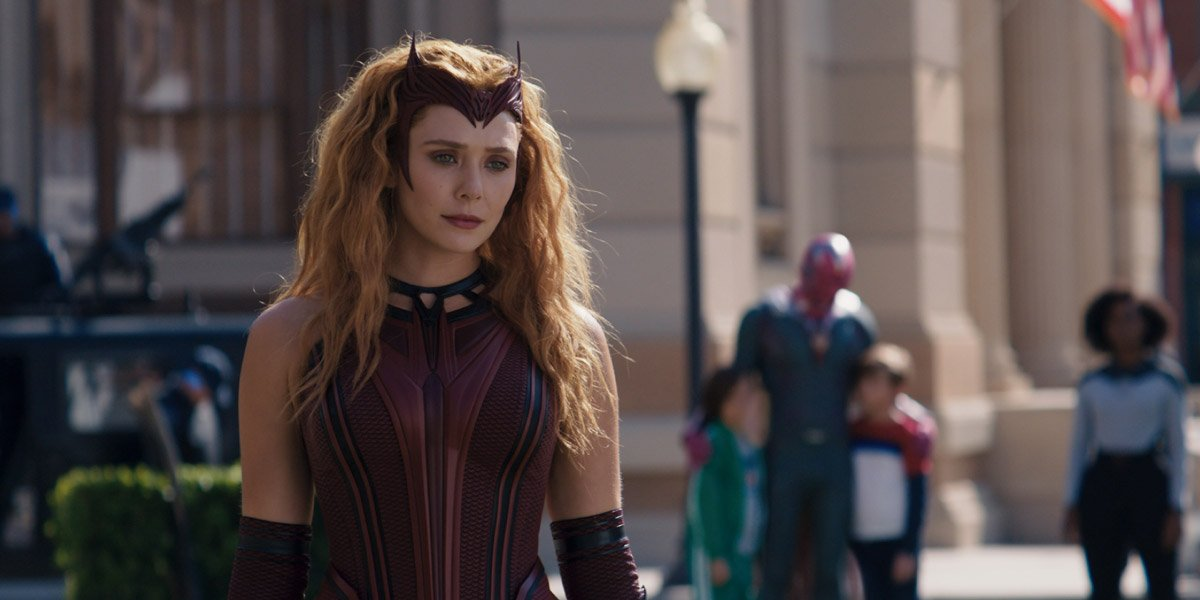 Scarlet Witch (Elizabeth Olsen) wears her new costume in WandaVision