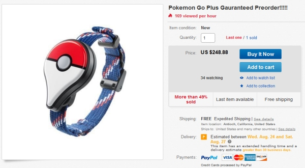 Pokemon Go Plus Auctions